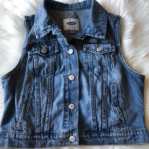 Old Navy Jean Vest with some distressing Size Med